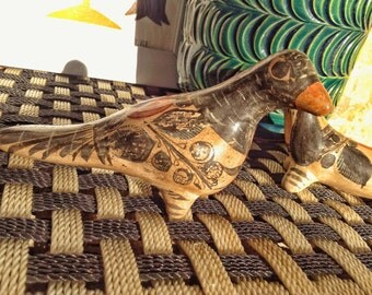 Vintage 60s 70s Hand Painted Mexican Folk Art Tonala Solis Signed Bird