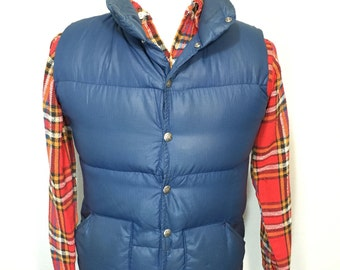 70's vintage north face down vest brown tag made in usa mens XS