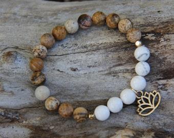 White Lotus bracelet - Howlite and Picture Jasper Stone Bead Yoga Mala Bracelet
