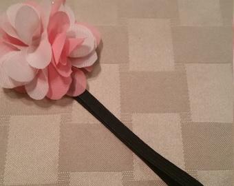 Baby black headband with multi pink flower