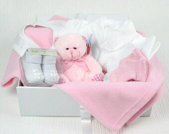 Pink bed time pals baby gift hamper