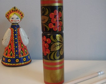 Pencil Case. Russian Pattern Wooden Pencil Case, Khokhloma,  Rare Item from Soviet School.