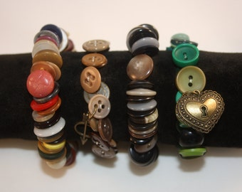 MULTI COLORED BUTTON bracelets some with charms