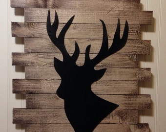 Rustic Deer Head, Deer head sign, Rustic Decor, Deer Art