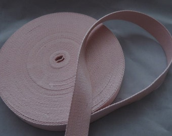 Package 5 m 100% cotton webbing 25 mm Made in Europe / Colors to choose