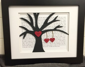 Personalized Wedding Gift, First Year Anniversary Gift, Wedding Song Lyrics, 3D Paper Tree, 11x14 Frame
