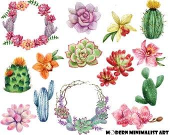 14 PNGS, Watercolor Cactus, Cactus Clipart, Watercolor Clipart, Succulent Clipart, Watercolor Succulents, Wedding Cactus, Planter Clipart