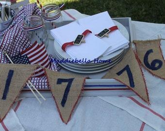 Patriotic Burlap Banner: Independence Day Patriotic (1776) Burlap Banner