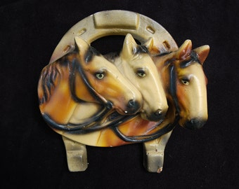 Three Horses and Lucky Horse Shoe Chalkware Wall Plaque