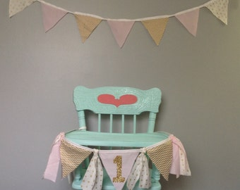 Pink and Gold Birthday High Chair Banner-