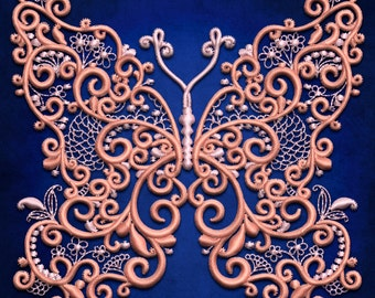 Delicate Butterfly embroidery design