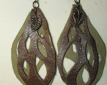 Dangling Leather Leaf Earrings with Bronze Leaf Charm