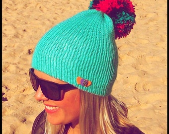 ORIGINAL COLOURFUL BEANIE with brooch and pom pom