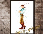 Flynn Rider art print,Tangled disney, watercolor poster, Art Print, instant download, Watercolor Decor