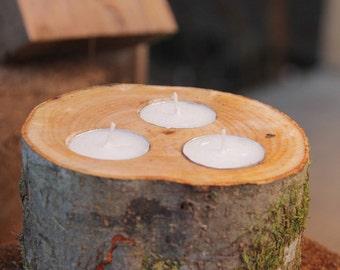Wooden candle holder , wedding decor, wood tea light candleholder, tree branch candle holders, bathtube moment