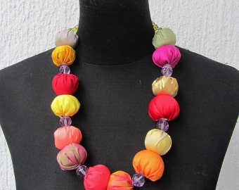 silk fabric necklace,multicolor silk fabric necklace with vintage glasse beads,handmade jewelery,pom-pom silk fabric necklace