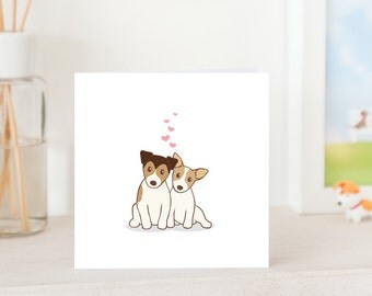 Dog Love Card -  Jack Russell Terrier Dogs in love, JRT in love, dog card, i love you card, friendship card, cute card for JRT Lover,