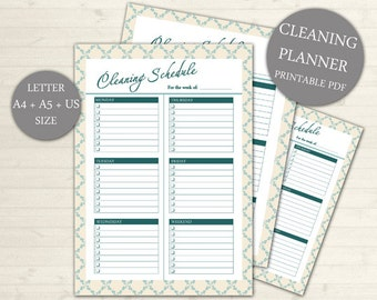SALE Weekly Cleaning Schedule, Printable Cleaning Planner, INSTANT Download, Cleaning Planner Household, Homekeeping #104