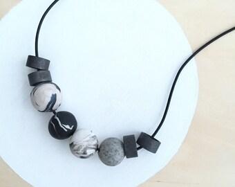 modern marbled black white grey polymer clay necklace handmade by accentvault | statement necklace | modern minimalist necklace