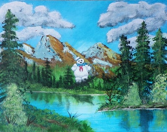 Original 11 X 14 acrylic painting landscape with the Stay Puft Marshmallow man!!!