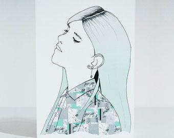 Relax Girl postcard - Fashion Illustration of Girl with Mint ombre hair and printed shirt