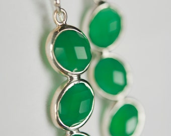 B001-009-001 Handmade Sterling Silver Hoop Earrings Green Onyx July Birthstone