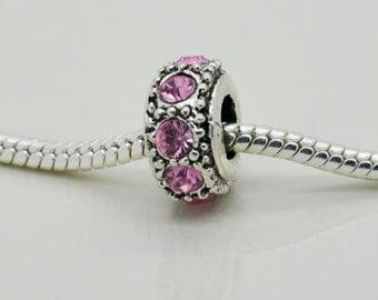Pink Rhinestone Bead, Bracelet Beads, European Bracelet, Charm.