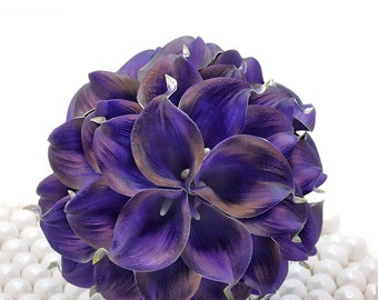 Royal Purple Wedding Bouquet - Three Dozen Real Touch Artificial Calla Lilies - Select Ribbon and Pin Colors