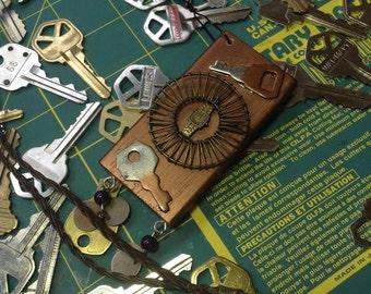 Steampunk, junky block necklace