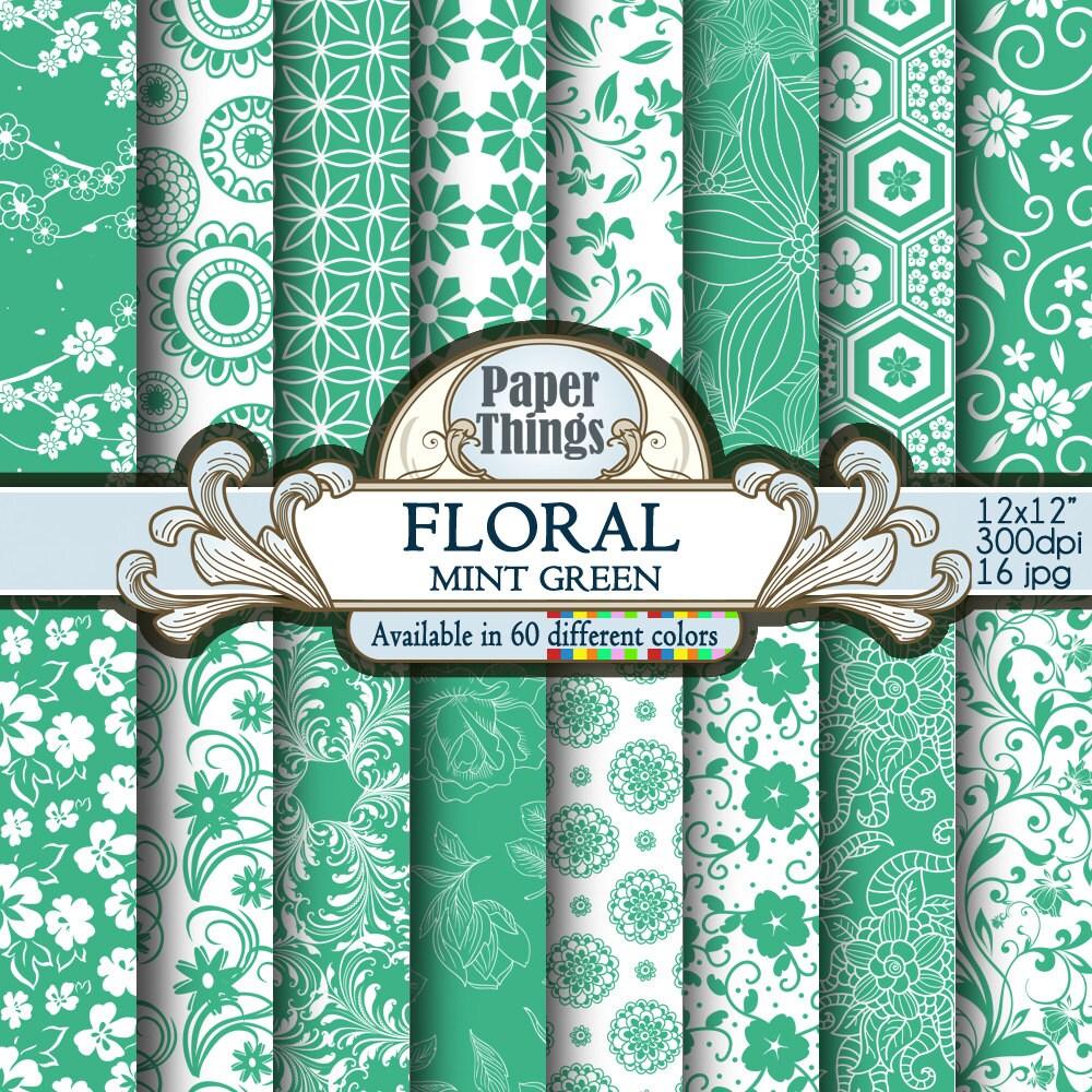 Baby scrapbook ideas uk - Mint Green Floral Background Green Digital Background White And Green Patterns Digital Scrapbook Pages Green Flowers Digital Paper