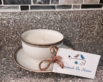 Vintage Handmade Soy Candle Teacup