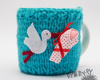 Crochet Mug Sweater Cup Cozy Knitted Mug Sweater Cozy Kitchen Decor, Baby Gift Mug Sweater with Stork and Baby in Blue Color