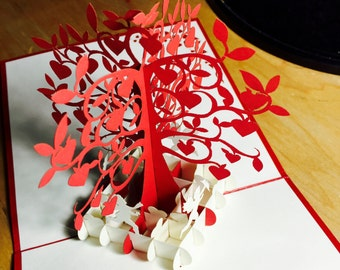Love Tree Card - FREE Shipping - Love Pop Up Card, Heart Pop Up Card, Tree Love Card, Birthday Card,Valentine's Day Card