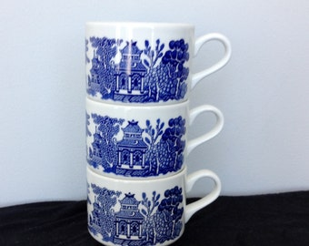 Set of 3 Blue Willow Stacking Coffee Cups