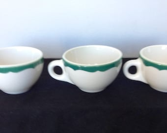 Vintage Syracuse China Restaurant ware Coffee Cup - White with Green Scalloped Trim
