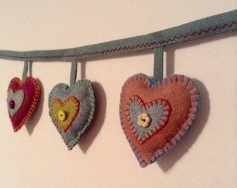 Vintage heart bunting