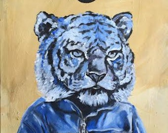 surreal tiger playing with his phone painting on canvas board 20x24