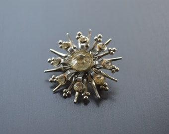 Vintage Rhinestone Snowflake Brooch, Vintage Silver tone brooch, pendant snowflake