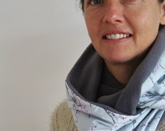 Infinity Circle Cowl Scarf - Fleece, Blossom pattern, Grey, Reversible, Perfect for Winter. FREE UK delivery!!