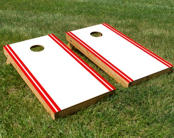 Classic White and Red Stripe Cornhole Board Set with Bean Bags