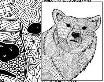 zentangle bear coloring sheet, animal coloring, zentangle colouring page, zentangle animal pdf,  intricate design sketch, grown up coloring