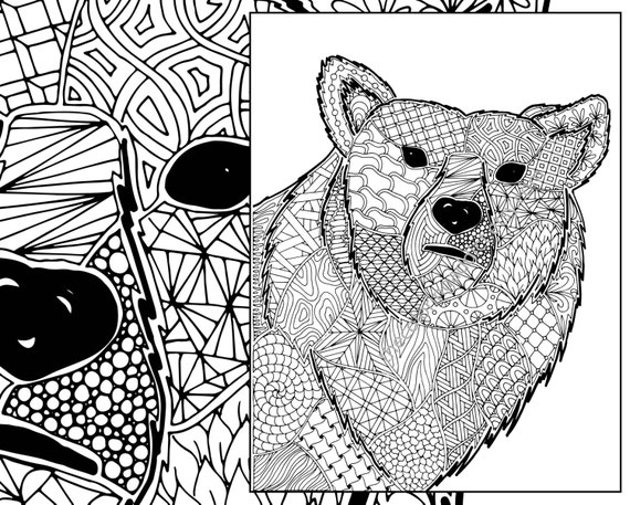 Coloring Pages Of Animals With Designs : Zentangle bear coloring sheet animal