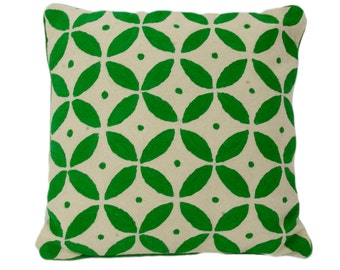 Hand embroidered kashmir wool cushion cover - Evergreen 50cm x 50cm