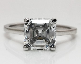 3.00tw Carat Asscher Cut Engagement/Wedding/Anniversary/Promise Ring Solid 14K White Gold