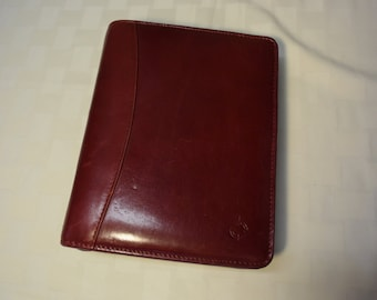 Personal Size Franklin Covey Burgundy Red Leather Agenda Organizer Zip Around