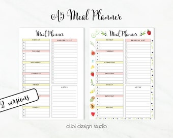 Meal Planner, A5 Planner Inserts, Meal planning, Weekly Meal Planner, Printable Planner, Meal Tracker, Grocery List, Health Planner