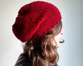 Red Slouchy Hat Red Knit Hat Slouchy Beanie Urban Clothing Red Knit Beanie Red Slouchy Beanie Womens Hats Chunky Knit Hat Girl Gifts Teen