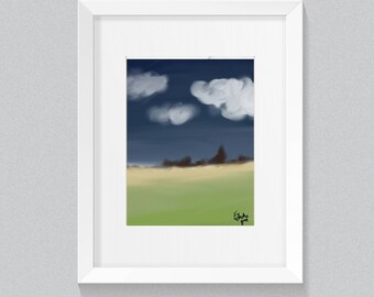 "CLOUDY night  6×4"" PRINT GREETINGS card - landscape - outdoors - nature - evening - digital art - wall print - birthday - note card"