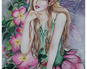 The wild rose fairy faerie pixie elf fantasy watercolour painting