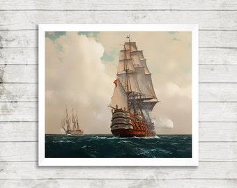 black sails, series, pirates, ship at sea,  fan art,  modern art, digital print